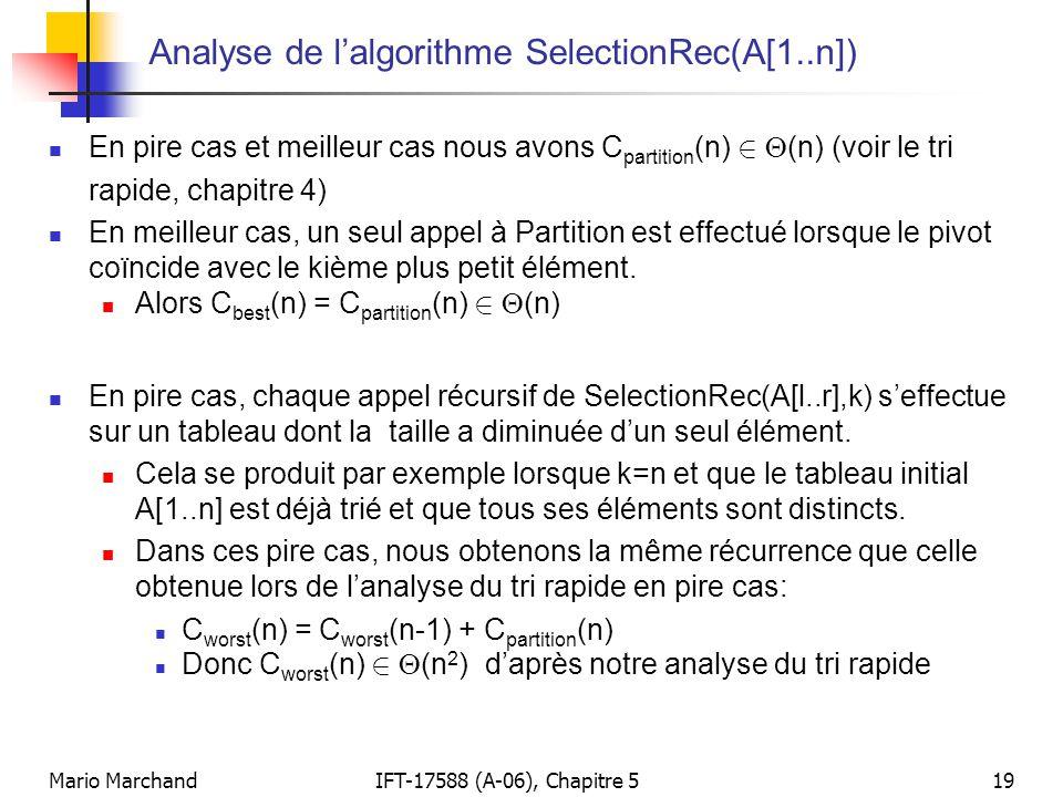 Analyse de l'algorithme SelectionRec(A[1..n])